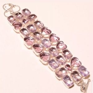 💕Kunzite faceted love silver bracelet